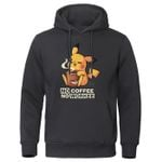 Cartoon Harajuku NO COFFEE NO WORKEE Pikachu Pokemon Sweatshirt Casual Hoodies