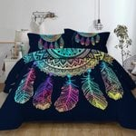 Dreamcatcher Bedding Set Queen Size Colorful Feathers Polyester Duvet Cover Bohemian Mandala Bedclothes 3pcs Black Home Textiles