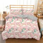 Boniu 2/3pc 3D Bedding Set Cartoon Unicorn Print Duvet Cover Set Rainbow Bedclothes With Pillowcase Bed Set Home Textiles