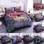 Boniu 3D Skull Mandala Pattern Bedding Set 2/3pcs The Dead Sugar Skull Duvet Cover Queen Size Quilt Cover Pillowcase