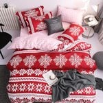 Merry Christmas Bedding Set Snowflake Printed Queen/Twin/King/Super King Size Christmas Decoration For Home Living 4 Piece Set