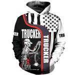 Trucker Skull USA Flag 3D Hoodie