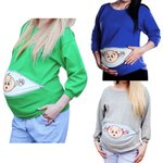 Large size cartoon pregnant women long sleeve loose section 5XL pregnant women shirt casual pocket zipper maternity clothes #YL2