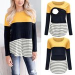 TELOTUNY Women Mom Pregnant Nursing tops long sleeve Striped Print t-shirt Maternity breastfeeding Blouse Clothes tops ZS26