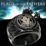 Black/Silver USA Military Ring Badge Eagle United States MARINE CORPS