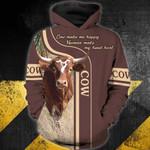 Cow 3D Zip Hoodie