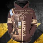 Elephan 3D Zip Hoodie