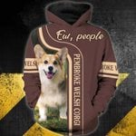 Pembroke Welsh Corgi-Ew, people 3D Zip Hoodie
