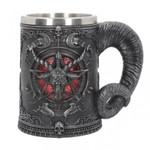 Baphomet Pentagram Horn Beer Mug Stainless Steel & Resin 3D Tankard Coffee Beer Mug Drinkware Cup Mystic Wicca Fan Gift