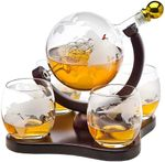 Whiskey Decanter Globe Set with 4 Etched Globe Whisky Glasses - 850ml
