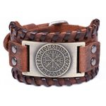 Runic Compass Leather Bracelet