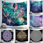 Mandala Tapestry Wall Hanging Black and White Esoterics Witchcraft