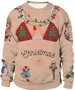 Women Christmas Sweatshirts Santa Claus Print Pullover Scoop Neck Tops