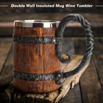 Viking Wood Style Beer Mug  & Mug Metal Insulated