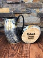 Personalized  Authentic Buffalo Horn Mug Viking