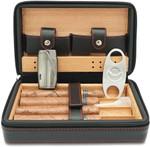 Cedar Wood Travel Portable Leather Cigar Humidor with Humidifier