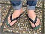 Flip Flops with moss green sole