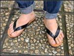 Flip Flops with  orange sole