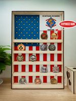 Hanging Wood Military Coin Holder - 1st Battalion, 4th Marines