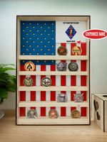 Hanging Wood Military Coin Holder - 1st Tank Battalion