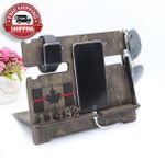 Canadian Thin Red Line flag wood Phone stand - FREE SHIPPING!