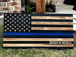 Personalized Wood Thin Blue Line Flag Wall Art   Police Wooden American Flag   Thin Blue Line Wood Flag   Wooden American Flag Wall Art