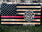 Personalized Wood Thin Red Line Flag Wall Art, Custom Fire fighter Wood American Flag, Custom Firefighter Gift, Fire Wooden American Flag