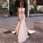 Appliques Beaded Mermaid Lace Princess Bridal Dress