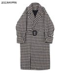 Houndstooth Pattern Long Coat With Belt