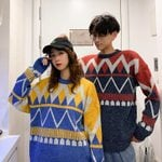 Pullover Pattern Clashing Color Geometric Sweater