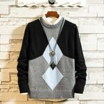 Warm Hit Color Casual O-neck Knitted Pullover Sweater