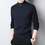 Half height zipper Pullovers O-Neck Slim Sweater