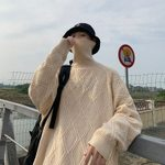 Warm Solid Color Casual Knitted Pullover Streetwear