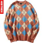 Hip Hop Sweater Pullover Retro Plaid Streetwear