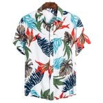 Casual Slim fit Flower Printed Short Sleeve Shirt