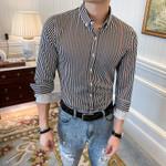 Stripe Long Sleeve Business Formal Dress Shirts