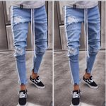 Ripped Knee Hole Side Zipper Jeans