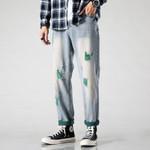 Cotton Hole Jeans Fashion Hit Color Casual Pants