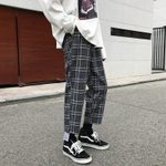 Cotton Plaid Pants Casual Retro Straight Trousers