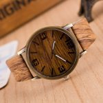 Fashion Color Leather Strap Wood Watch