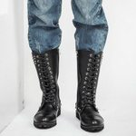 Leather Motorcycle Rivets Shoes Boots