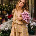 Yellow Tiered Floral Playdress Frill Mini Dress Boho