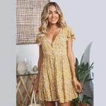 vintage floral print Cotton Short sleeve boho dress