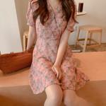 Girls floral plus size Boho party chiffon Dress