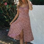 vintage puff midi boho beach casual dress