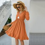 Tassel Strap Solid Color Ruffles Long Sleeve Boho Dress