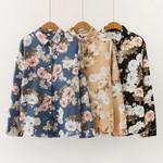 Boho Satin Silk Blouse Office Floral Printed Shirts