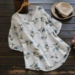 Linen Blouses Shirt Loose Floral Printed Pullovers Tops
