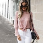 Boho Beach polka dot Blouse Loose crop Tops