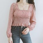Floral Blouse Puff Sleeve Top Square Neck Shirts